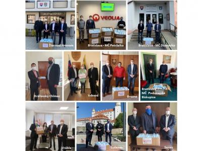 Skupina Veolia Energia Slovensko darovala viac ako 50-tisíc jednorazových chirurgických  rúšok mestám, kde dodáva teplo a teplú vodu
